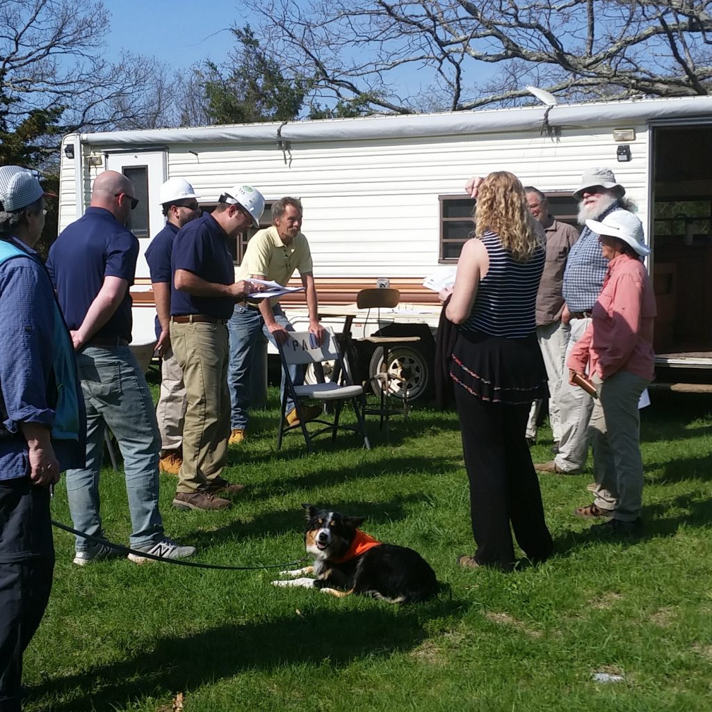 Ground Breaking at Rocky CornerSecond weekly construction meeting, May 3, 2018. Representatives of the construction manager, site contractor, site engineer, Town of Bethany, and Rocky Corner, at the temporary construction trailer. That's Robbie chilling in the grass.