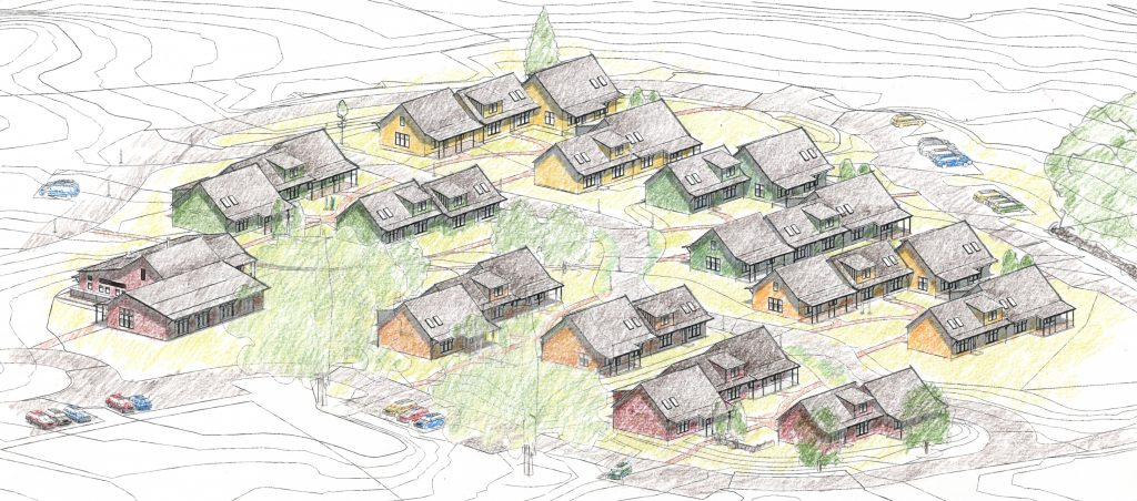 Sketch of community layout. Actual homes will have optional porches, dormers, skylights, and end windows selected by the original home buyers. Those shown are for illustration only. Buildings and improvements shown NEED NOT BE BUILT.