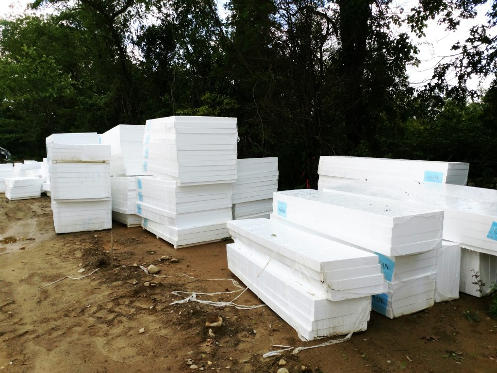 Stacks of rigid foam insulation
