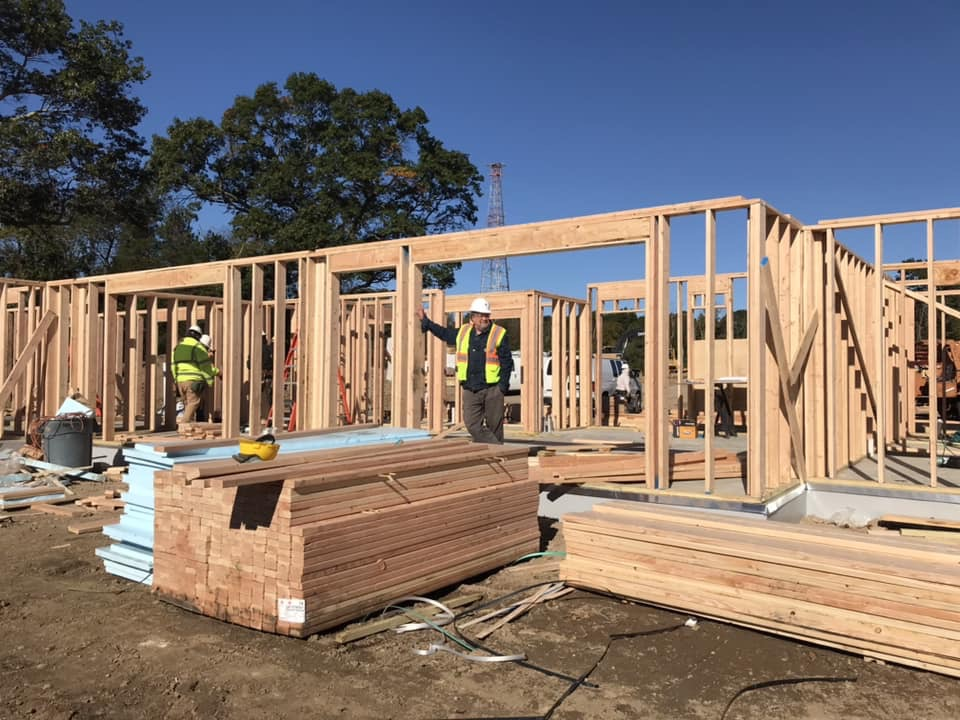 Walls framing for first building, mostly complete.